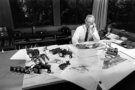 Henry Dreyfuss in his office with John Deere Designs, circa 1966, image courtesy of John Deere